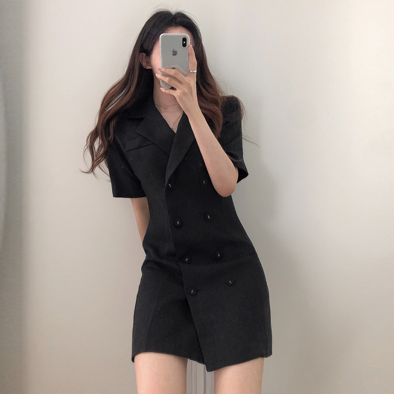 Net red double breasted dress suit collar coat women's French retro waist show thin black short sleeve slim suit