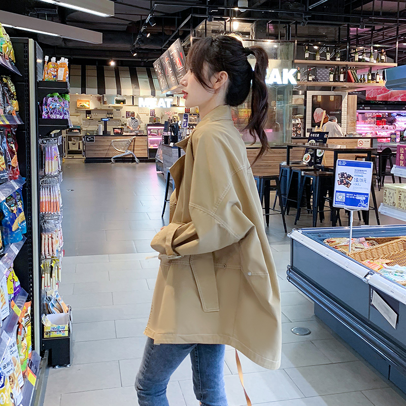 Khaki-colored windcoat 2021 new coat womens spring and autumn short winter Korean version of the long version of a hundred small coats