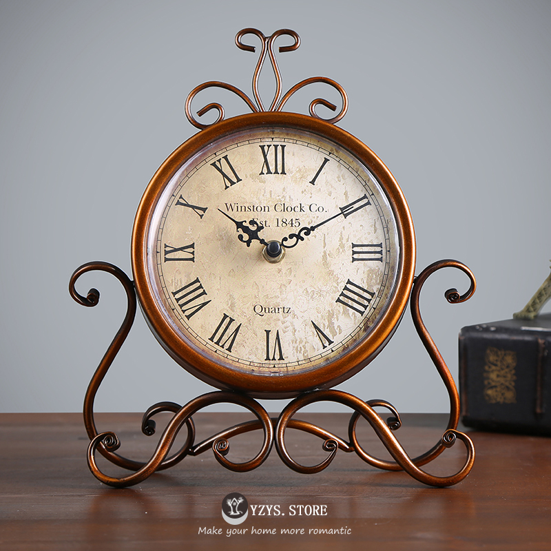 Retro Clock and Watch American Pastoral Living Room Clock Household Bedroom Arrangement Creative Iron Table Clock Desktop Mute Seat Clock