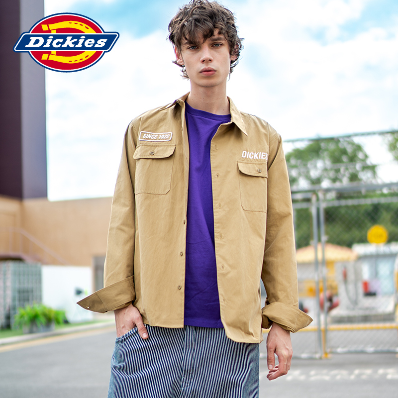 Dickies early spring new embroidered badge tooling crisp shirt shirt men's long sleeve dk007319