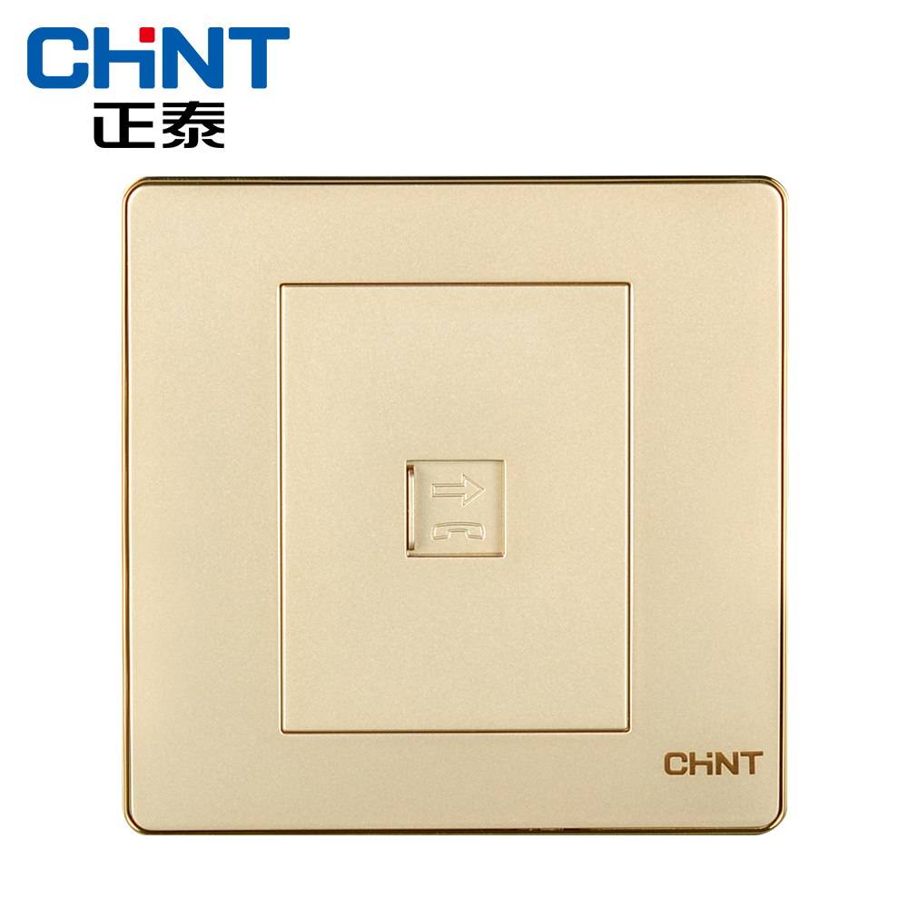 Chint wall switch socket 86 type four core telephone line socket NEW6-D20302 champagne gold
