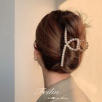 Head hairclip headdress Pearl catch hairclip female summer back hair card hair clip large Korean Net Red Shark clip