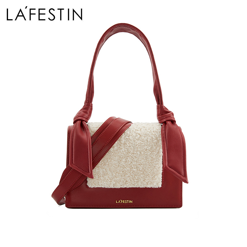 Lafite's hairy bag female 2018 new autumn and winter Korean version of the small square bag fashion contrast color shoulder bag Messenger bag