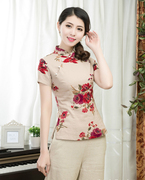 Cheongsam dress dress clothing cotton short sleeved tea improved short slim Chinese Hanfu casual floral Costume