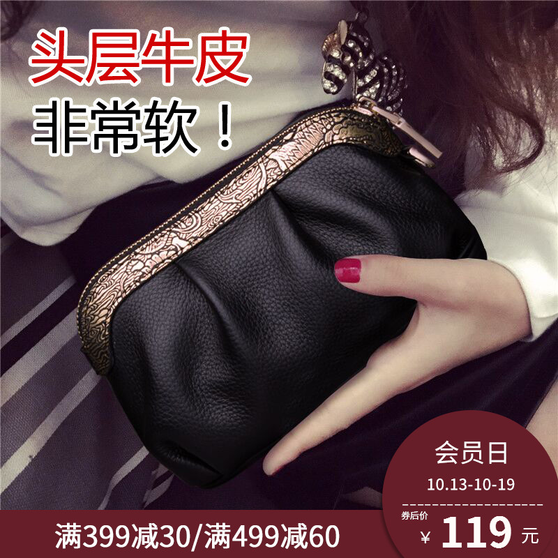 New style of lady's leather handbag, grabbing the head of the bag, cowhide fashion mini-bag, handbag and handbag girl