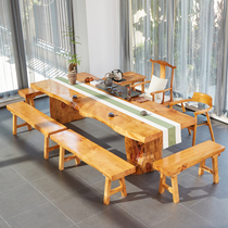 Solid wood tea table and chair combination Modern simple Chinese tea table Office log large board table Gongfu tea several bubble tea table