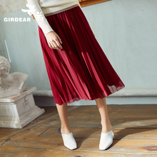 Brother 2019 women's dress, spring dress, new skirt, skirt, waist, pleated yarn, skirt, umbrella skirt, female 8200018.