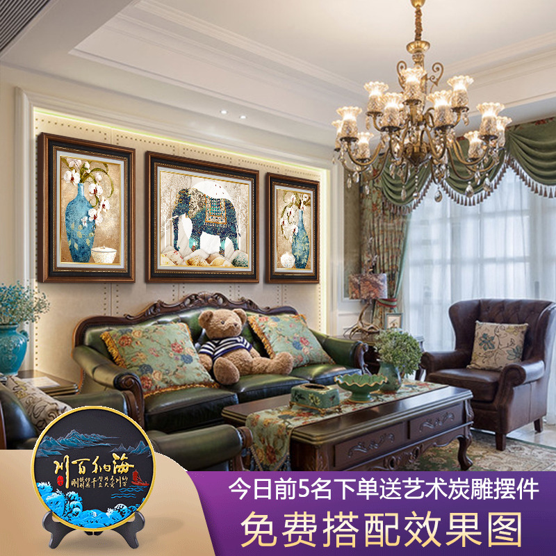 American style light luxury living room sofa background wall decoration bedroom porch hanging mural Chinese style home triple oil painting