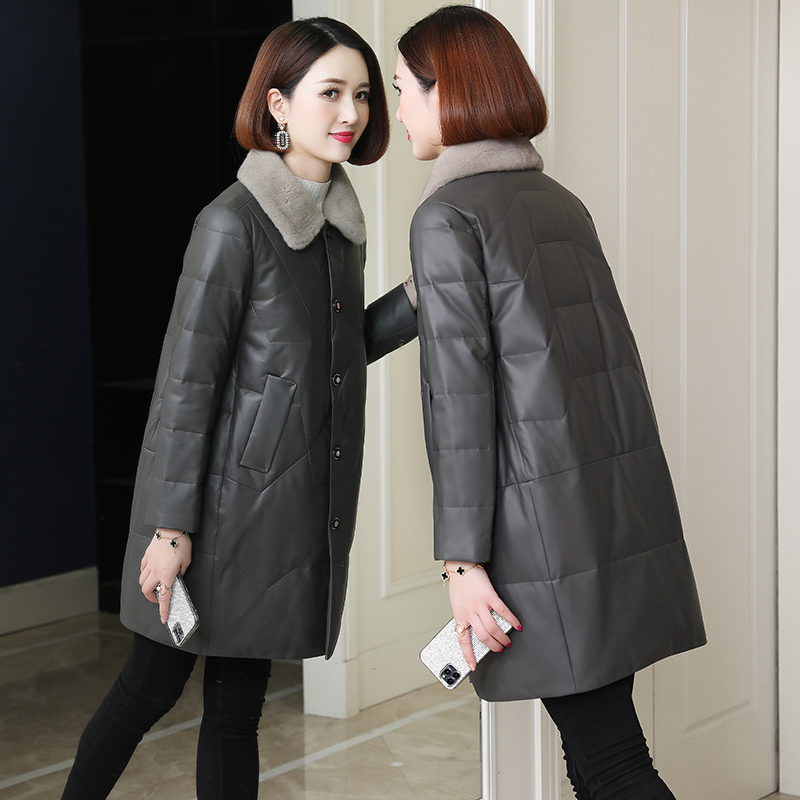 Korean version of the mink fur collar leather down jacket in the long silkworm-type leather coat womens 2020 winter new large size mother dress