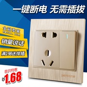 Wall switch socket panel set with a single open two or three family of five - hole power socket champagne gold 86