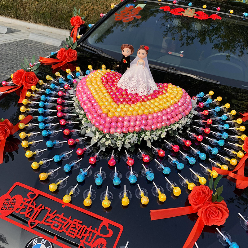 Lollipop main knot wedding car decorated with a full set of creative suction cup-type car head car decoration set wedding fleet set