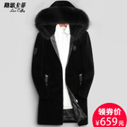 Haining new Sheepskin Fur leather hooded male fox collar long fur coat