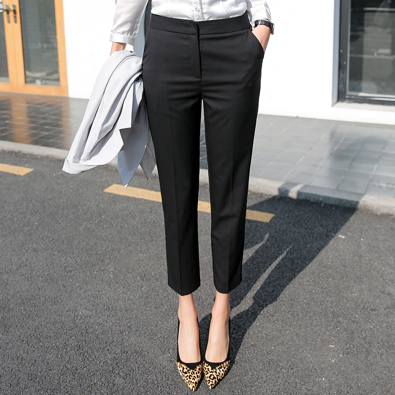 Suit pants women autumn and winter high waist nine points work pants black pants professional plus velvet pipe pants straight small foot pants