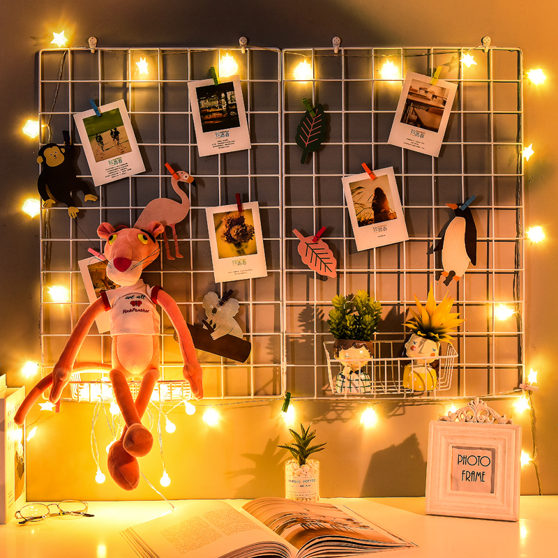 Iron Mesh Photo Wall Placement Ins Net Red Girl Heart Lattice Wall Room Arrangement Dormitory Bedroom Decoration