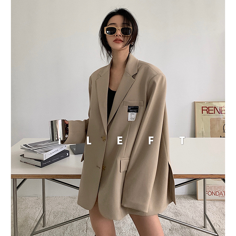 Left womens casual small suit silhouette coat womens top 2021 early spring new mid-length loose suit