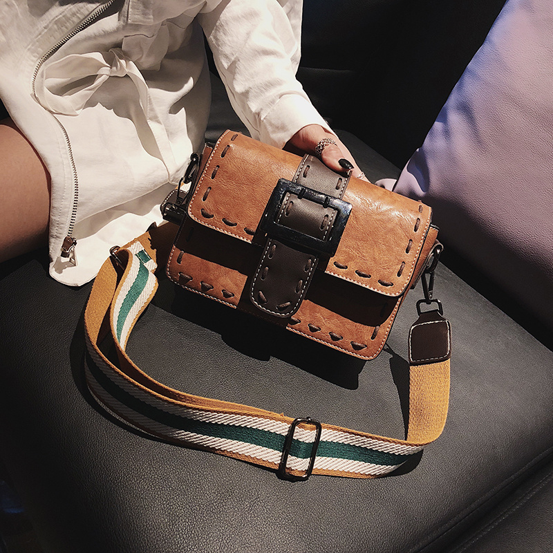 Fashion retro wide shoulder strap Messenger small square bag 2018 autumn new wave Korean version of the personality wild shoulder bag