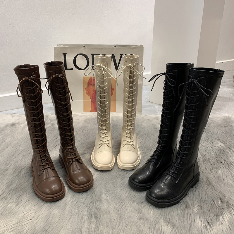 Long barrel knight boots women's boots 2020 autumn and winter shoes new lace-up Martin boots tall and thin mid-tube boots
