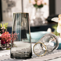 轻奢描金玻璃花瓶透明北欧简约客厅创意餐桌百合插花水培花器摆件