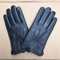 Authentic deer leather gloves mens winter warm winter cold warm electric car riding leather black
