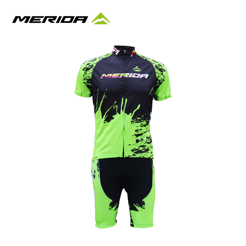 Merida Short Sleeve Cycling Suit Sprinkle Ink Money Cycling Fast Drying Free Bike Suit Cycling Equipment Package