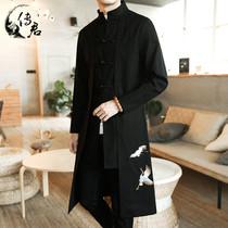 Китайский ветер ханьский мужской Тан вышитый тренч китайский древний стиль весна и осень плюс размер мужской средней длины тренч пальто