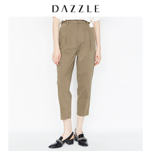 DAZZLE Plain Spring and Autumn New Simple Pure Pleated Straight Cylinder Trousers Tool Pants 2A1Q40847