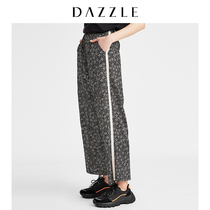 DAZZLE Prime 2019 summer new striped small floral straight loose casual pants female 2g2q4146a