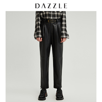 DAZZLE Disin 2019 winter wear new fashionhandsome straight tube warm bright leather pants woman 2G4Q4201A