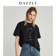 DAZZLE Landscape 2019 Winter Clothes New Interesting Drill Patterns Round-collar Cotton T-shirt 2G4B3011A