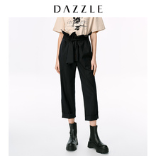 Dazzle Disu 2020 spring new fashionable black high waist paper bag casual pants for women 2c1q4021a