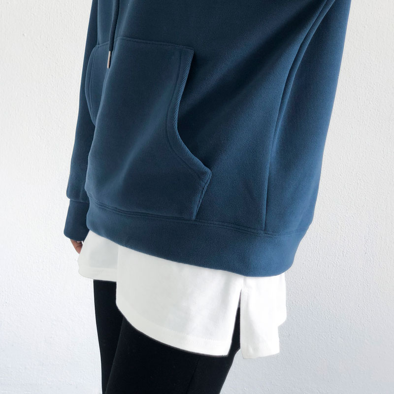 Fleece hoodie stacking, inner base skirt, short skirt with white edges, wild matching artifact sweater, fake hem, small fart curtain