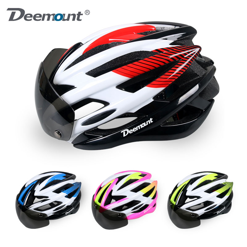 Deemount Magnetically Suction Mountainous Bicycle Helmets Integrated Formation with Wind Mirror for Men and Women Helmets and Taillight Lens