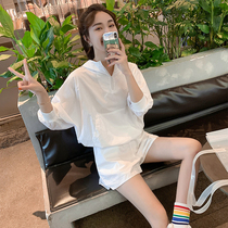 Lily Most pure white shorts casual suit Womens summer running sports thin sunscreen clothing two-piece set tide ins