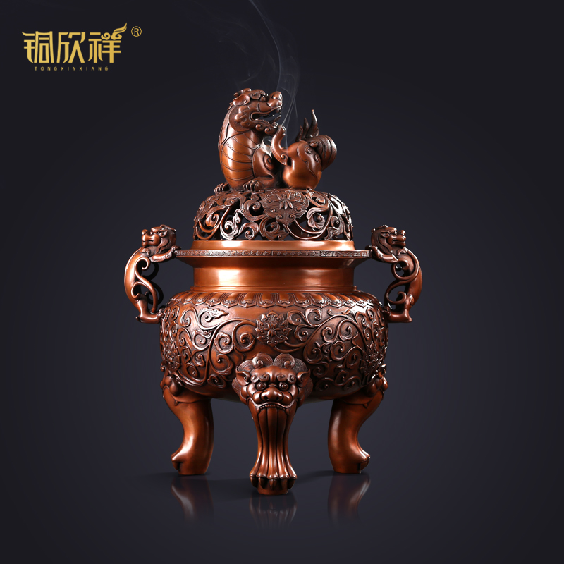 Tong Xinxiang Pure Copper Bronze Incense Furnace Imitating the Ancient Daming Xuande Lion Furnace