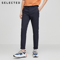SELECTEDSELECTED Summer mens cotton solid-color slimmed trend business casual pants C) 4182W2532