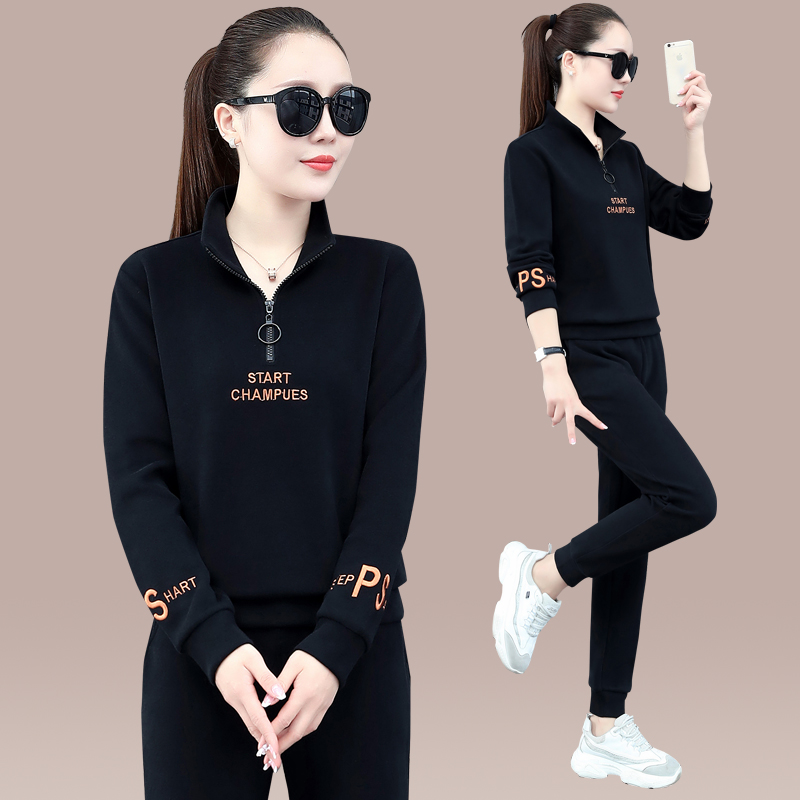 Sports suit womens spring and autumn 2021 new fashion collar long-sleeved casual running clothes womens thick T-shirt two-piece set tide