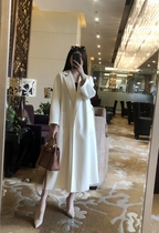 Fei Qian 2021 high-end new labbro white long water corrugated cashmere coat womens knee double-sided Velvet