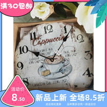 Retro American Rural European wall clock living room bedroom creative simple decoration household modern silent wall clock