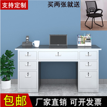 304 Stainless steel work desk Thickened computer desk with drawer work desk Home cash register study desk