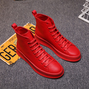 Winter hip hop high shoes male trend of Korean red sneakers all-match plus velvet Martin boots increased male shoes