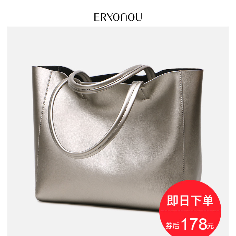 The new style bag in 2019 is fashionable, simple and soft leather handbag, shoulder bag, female genuine leather bag, large bag and large capacity Tote bag.