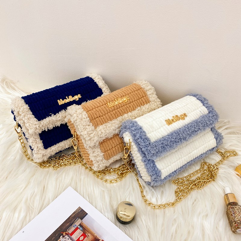 Vibrato icicle grid handmade bag diy material bag homemade wool hand-woven bag to send girlfriend messenger bag