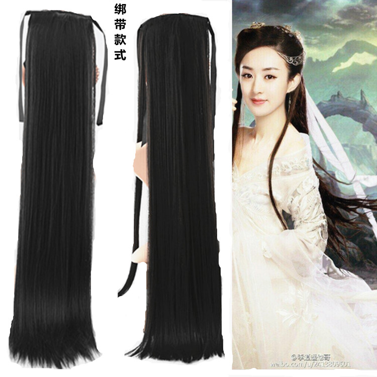 Hot sale promotion ancient Chinese clothing long straight hair soft hair film studio ancient style wig receive fake horsetail film Black Brown