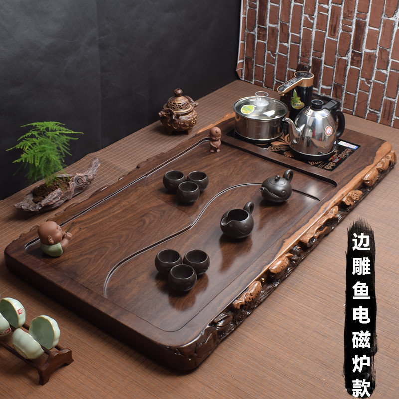Ebony tea plate household whole piece of solid wood log tea tea table with induction cooker integrated Kung Fu tea set tray