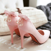 2017 pink women's shoes, spring and summer heels heels with a sharp point of the new style of a small bow