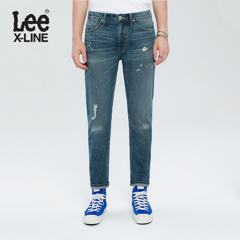 Leexline blue jeans men's 731 mid waist perforated Leggings 2020 new trend l147313hh85b