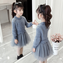 Girls sweater skirt 2020 new autumn and winter spring style yarn skirt Western princess skirt childrens dress winter skirt winter dress