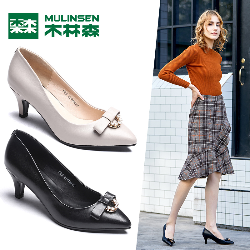 Mulinsen women's shoes 2018 autumn new leather rhinestone sets of feet high heels women's shoes fashion stiletto shoes G