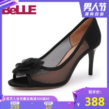 Belle/Bailiyuzui Single Shoes 2009 Autumn New Mall Flower Mesh High-heeled Women's Sandals U1F1DCU9