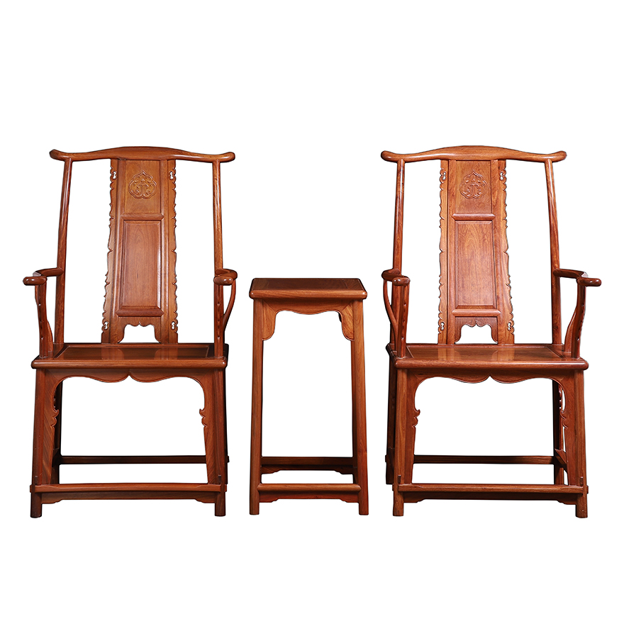 Official hat chair three-piece set of new Chinese Burmese pear wood solid wood large fruit purple sandalwood antique redwood w